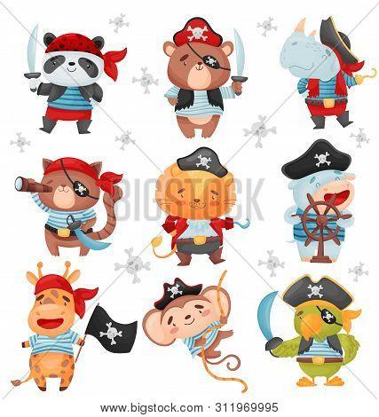 Set Of Animal Pirates. Vector Illustration On White Background.