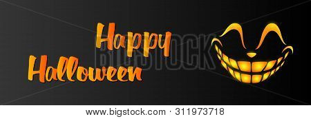 Happy Halloween Greeting Card Design Template With Orange Smile On Black Background. Halloween Conce
