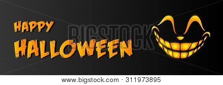 Happy Halloween Greeting Card Design With Grin On Black Background. Halloween Concept. Vector Illust