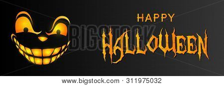 Happy Halloween Greeting Card Design With Sneering Face On Black Background. Halloween Concept. Vect