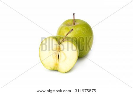 Green Apples On A White Background. Ripe Green Apples On An Isolated Background. Green Apples With G