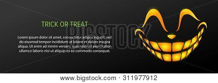 Trick Or Treat Text With Orange Smile On Black Background. Halloween Greeting Card. Vector Illustrat