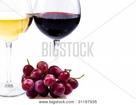 Pair Of Wine Glasses And Grapes
