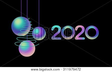 2020 Colorful Font And Nacre Balls, Green Tree On Black Background. Holiday  Illustration. Design Fo