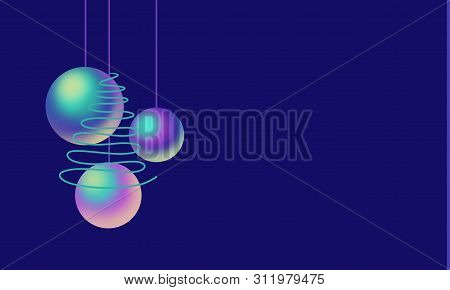 Colorful Nacre Balls, Green Tree On Blue Background For Copy Space. Holiday  Illustration. Design Fo
