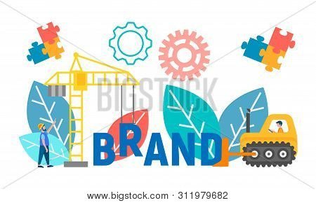 Employees Of The Company Make A Brand Of Letters With The Help Of Technology, Symbolizing Successful