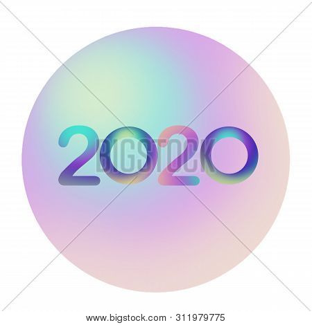 2020 Font Colorful  On Nacre Ball And White  Background. Holiday  Illustration. Design For Invitatio