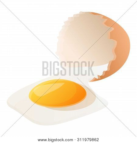 Eggshell with yolk icon. Cartoon of eggshell with yolk icon for web design isolated on white background poster
