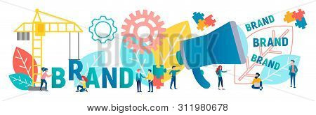 Vector Illustration Of The Banner. The Characters Are Working On The Creation And Development Of The