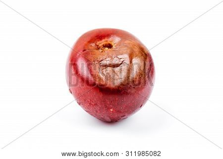 Rotten Bad Cherry Isolated On White Background. Decompose Concept.