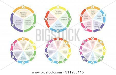 Circle Flowchart Diagram Icons Templates. Vector Cycle Chart Arrows With Numbers For Presentation An
