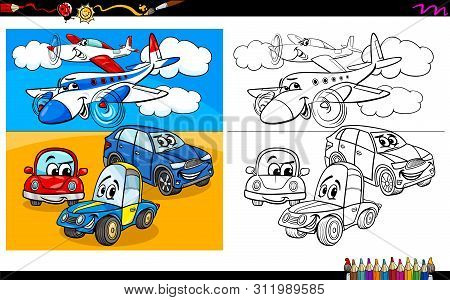 Cartoon Illustration Of Planes And Cars Characters Group Coloring Book Worksheet