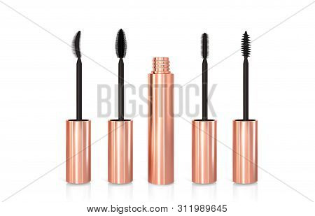 Set Of Realistic Vector Golden Mascara Bottles. Brush And Mascara Tube. Black Wand And Golden Tube O