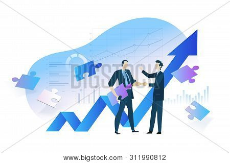Flat Design Concept Of Business Analysis And Planning, Increase Profits, Business Growth. Vector Ill