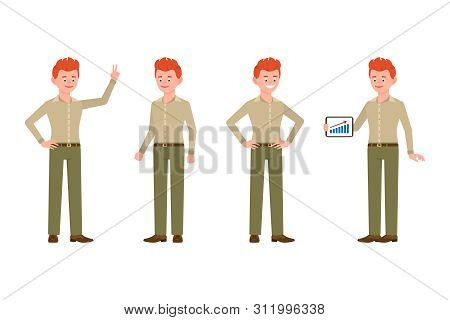 Happy, Smiling, Cute Red Hair Young Office Man In Green Pants Vector Illustration. Standing With Tab