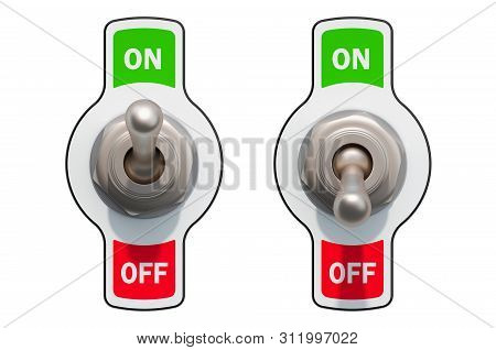 Toggle Switches On And Off 3d Rendering Isolated On White Background