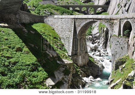 Devil's bridge at St. Gotthard pass, Switzerland