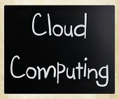 """Cloud computing"" handwritten with white chalk on a blackboard poster"