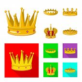 bitmap illustration of medieval and nobility sign. Set of medieval and monarchy stock symbol for web. poster