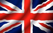 VECTOR United Kingdom flag waving in the wind. (Only gradient used easy to edit ) poster
