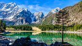 Spring morning at the superior lake of Fusine, Friuli Venezia-Giulia, Italy poster