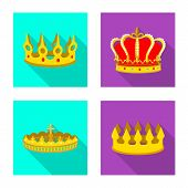Vector design of medieval and nobility icon. Collection of medieval and monarchy stock vector illustration. poster