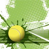 illustration tennis ball on abstract green background poster