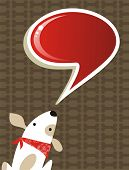 Fashion social media dog with speech bubble over brown background. Vector file available poster