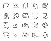 Recovery line icons. Backup, Restore data and recover document. Laptop renew, repair and phone recovery icons. Drive fix, restore information and return data. Backup document. Vector poster