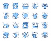 Laundry line icons. Dryer, Washing machine and dirt shirt. Laundromat, hand washing, soap bubbles in basin icons. Dry t-shirt, laundry service, dirty smudge spot. Clean clothes. Vector poster