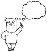 cartoon old bear with idea poster