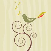 Vector image of a retro style songbird on a swirly vine poster