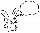 cartoon rabbit with thought bubble poster