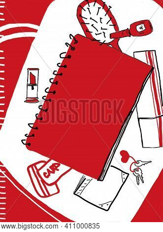 Bag, Women`s Bag With Women`s Accessories. Red Women`s Accessories On A Red Background. Silhouettes