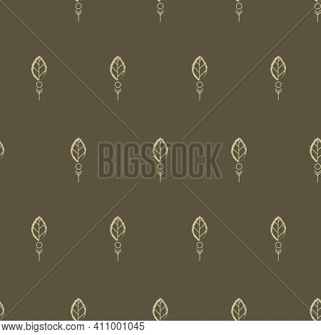 Little Elliptical Outlined Leaves And Dots Seamless Pattern With Green Background. Vector Illustrati