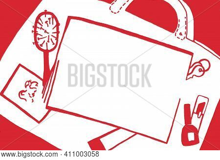 Bag, Women`s Bag With Women`s Accessories. Red Women`s Accessories On A White Background. Silhouette