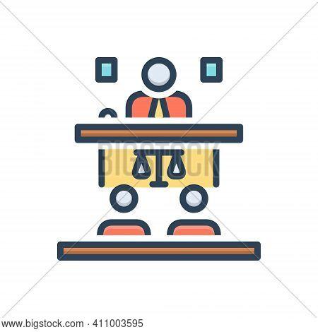 Color Illustration Icon For Appeal Cassation Proclamation Public-speaker Convention Adminstrative Ju