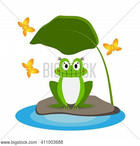 Funny Green Frog On A Stone Near A Puddle Under A Leaf, Isolated On A White Background. Vector Illus