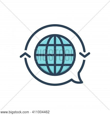 Color Illustration Icon For Translate Globe International Render Retranslate Interpret Clarify Conve
