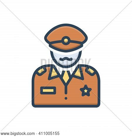 Color Illustration Icon For Commander Patriot People Commandant Director Officer Soldier Military Ar
