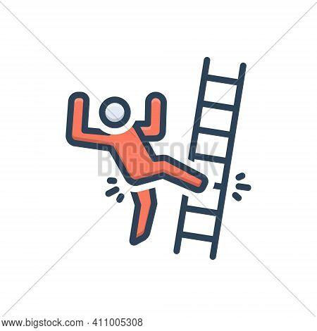 Color Illustration Icon For Slip Slip-and-fall Fall Injury Mistake Ladder Tripping-on-stairs Acciden