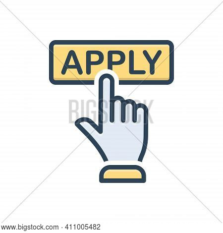 Color Illustration Icon For Apply Registration Online Application Register Submit Subscription