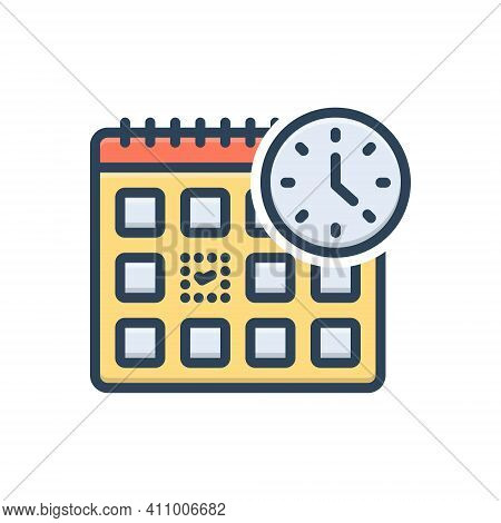 Color Illustration Icon For Appoint Agenda Day Month Calendar Appointment Checkmark Time Reminder Ti