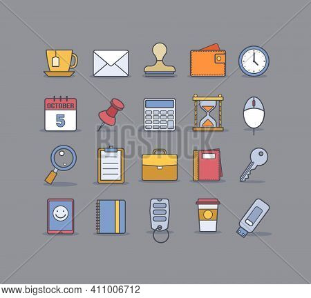 Universal Business Flat Icons For Web And Mobile. Vector Illustrations For Your Design, Site, Web Pa