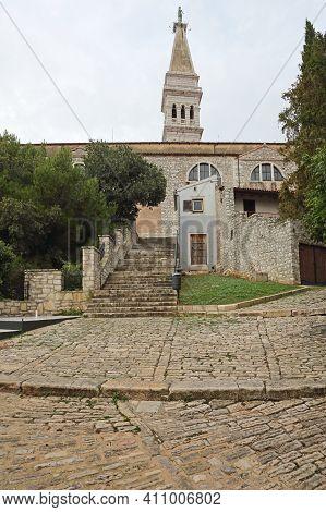 Church Tower Of Saint Euphemia Basilica In Rovinj Croatia