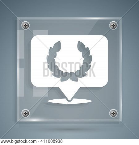 White Laurel Wreath Icon Isolated On Grey Background. Triumph Symbol. Square Glass Panels. Vector