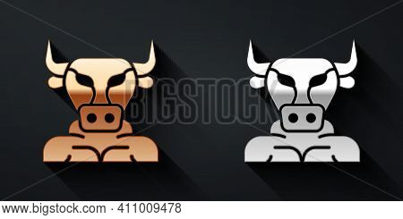 Gold And Silver Minotaur Icon Isolated On Black Background. Mythical Greek Powerful Creature The Hal
