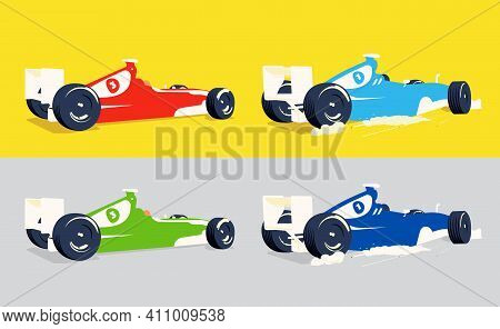 Modern Vector Illustration Formula F1 All Objects Are Isolated