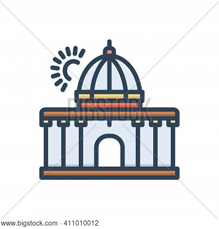 Color Illustration Icon For Supreme Highest Constitution Architecture Government Authority
