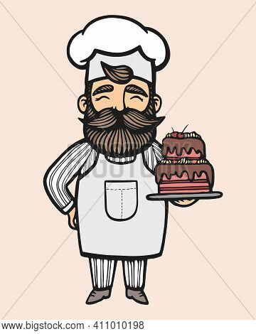 Bakery. Hand Drawn Vector Illustration Of Chef-cooker With A Mustache And Cake. Chef Cake Logo. Conf